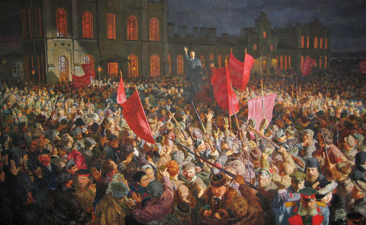 A gigantic painting of Lenin addressing the crowd upon his return to Russia during the Russian Revolution. Note the disaffected bourgeoisie, military officers, and priests in the lower right. The painting hangs in the Museum of Political History.